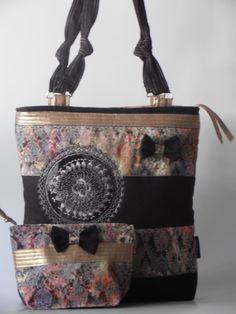 New  ....denim bag ,with taffeta application