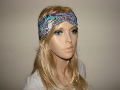 purple teal turban headband floral jersey Twist by OtiliaBoutique