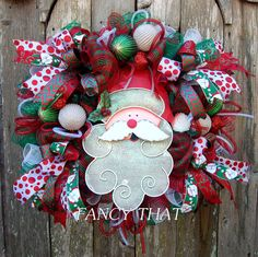 Deluxe Traditional Red/Green Santa Wreath by FancyThatDecor on Etsy
