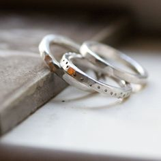 Love if they were in gold....Chunky Rustic Sterling Stacking Rings