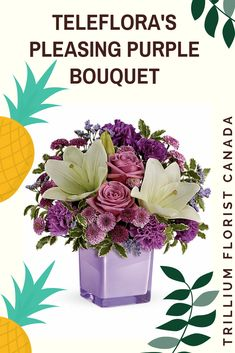 These luxurious lavender roses and crisp white lilies are poised to please! Perfectly presented in a stylish cube vase, it's an any-occasion surprise they'll never forget! Fast Flowers, Summer Flowers, Flower Delivery Service, Order Flowers Online, Amethyst Color, Lavender Roses, Mylar Balloons, White Lilies, Floral Bouquets