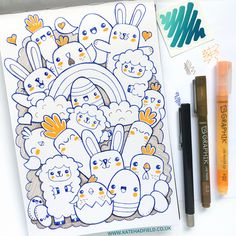 Drawing Doodles Sketchbooks Easter Kawaii drawing by Kate Hadfield using the contents of the March 2016 ScrawlrBox Cute Doodle Art, Doodle Art Designs, Doodle Art Drawing, Cool Art Drawings, Kawaii Drawings, Art Drawings Sketches, Pencil Art Drawings, Cute Art, Drawing Drawing