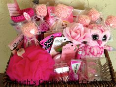 Breast Cancer Awareness donation gift basket. #Pink themed. #twine, #straws, #vinyl from #Pickyourplum