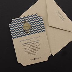 The anchor design adds a nice touch to this Nautical Chevron Cobalt Invitation which is also available in other colors.  This wedding invitation design and many, many more are available at www.PrintedCreationsWeddingStore.com.  #nauticalwedding
