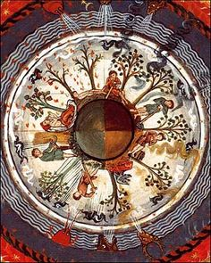 One of my favourite images of a round Earth is from the works of Hildegard von Bingen, around the twelfth century. It seems there's one fact about the Middle Ages that always seems to astound people: medieval people did not actually think the world was flat.