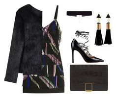"""""""BLACK+PARTY"""" by mina-rose-t ❤ liked on Polyvore featuring Smythson, Valentino, Preen, Chicwish and 8 Other Reasons"""