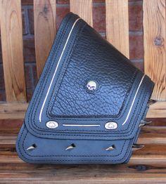 Custom Motorcycle Swingram Bag, Motorcycle Sidebag, Saddle Bag, Hand-stitched Leather, Chrome Studs and Spikes, Sheepskin Leather Inlays