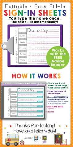 Print-practice sign-in sheets freebie! My daughter's preschool teacher uses sign-in sheets to help keep track of attendance and give the kids practice printing and spelling their names. She used to make these BY HAND, writing out each name six times, five of them dashed! I used my computering skills to make Adobe Reader do the work and save her precious time! You can get these print-practice sign in sheets for free in my TpT store.