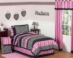 Pink and Black Tween Bedroom Set