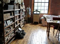 old: books, typewriter and wood floors