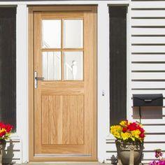 Stable 9 Light Oak Door, Square Top with Clear Double Glazing - Lifestyle Image Wooden Front Doors, The Doors, Entrance Doors, Exterior Wood Paint, External Oak Doors, Beautiful Front Doors, Wooden Cottage, Composite Door, Cottage Exterior