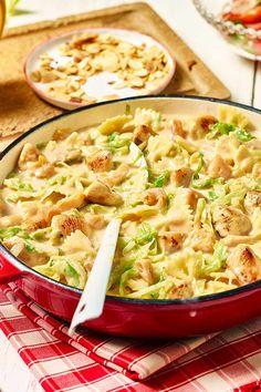 Farfalle-Pfanne mit Hähnchen und Spitzkohl #Pasta #Geschnetzeltes #Rezept