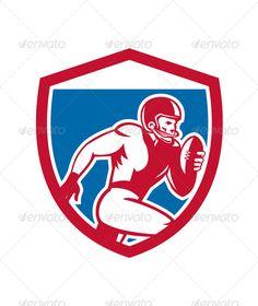 American Football Player Running Shield
