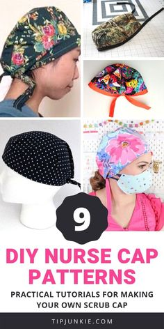 17 free DIY nurse cap patterns with practical tutorials for making your own scrub hat. Choose a fun fabric print and the surgical scrub cap tutorial that works best for your sewing skill level. Scrubs Pattern, Scrub Hat Patterns, Hat Patterns To Sew, Sewing Patterns Free, Hat Pattern Sewing, Nurse Hat, Surgical Caps, Scrub Caps, Sewing For Beginners