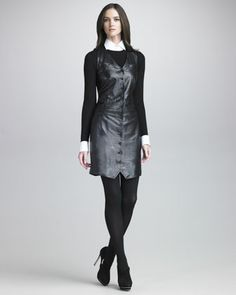 Sleeveless Leather Dress by Ralph Lauren Black Label at Neiman Marcus Last Call.