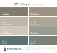I found these colors with ColorSnap® Visualizer for iPhone by Sherwin-Williams: Perfect Greige (SW Tricorn Black (SW Marshmallow (SW Poised Taupe (SW Repose Gray (SW Urbane Bronze (SW Colonnade Gray (SW Agreeable Gray (SW Exterior Paint Colors, Exterior House Colors, Paint Colors For Home, Paint Colours, Wall Colors, Concrete Paint Colors, Foyer Colors, Fixer Upper Paint Colors, Gray Exterior