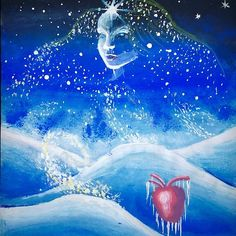 'Winter of the soul and frozen heart' by Corina Chirila Frozen Heart, Paintings, Winter, Shirt, Winter Time, Paint, Dress Shirt, Painting Art, Draw