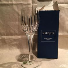 """Waterford Tropez Goblet 9 1/2"""" SIGNED NIB w/Tags Marquis Collection HTF Disc. #WaterfordMarquisCollection"""