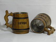 Wooden Beer mug Custom engraving 065 l 22oz by UkrainianSouvenir