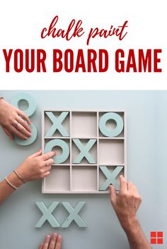Challenge your loved ones to a game of X's and O's this Valentine's Day. Transform virtually any wooden board game into a piece of chic decor with Rust-Oleum Chalked Paint--like this one, finished with Chalked Linen White and Serenity Blue! Wood Crafts, Fun Crafts, Diy And Crafts, Crafts For Kids, Arts And Crafts, Wood Projects, Woodworking Projects, Craft Projects, Projects To Try