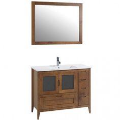 Mueble de baño rústico LEÓN con patas 100 cm Nogal con LAVABO Vanity, Bathroom Vanity, Bathroom