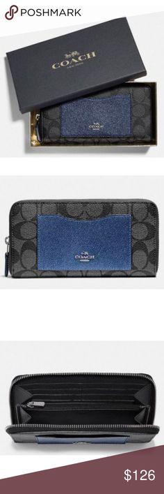 """Coach F22712 Boxed Accordion Wallet Black Navy Coach F22712 Boxed Accordion Zip Wallet With Metallic Colorblock Black Navy  item# 272991332635  100% Authentic Coach!  Buy with confidence!  • MSRP: $265.00  • Style: F22712  Features:  • Signature coated canvas with crossgrain leather  • 12 credit card slots  • Full-length bill compartments  • Zip coin pocket  • Zip-around closure  • Outside open pocket  • 7 1/2"""" (L) x 4"""" (H)  • Fits all phone sizes up to an iPhone X and Samsung S7 Edge  •…"""