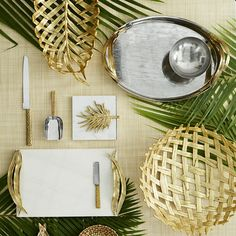 Middle Eastern palm tree tabletop serveware gold