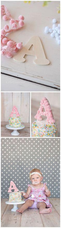 PomPom Monogram Cake Topper, First Birthday