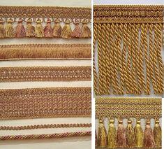 6 Tassel Fringe antique gold rust brown match Cord