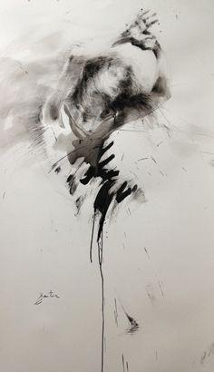 ewa hauton danse, 136x79cm ink painting http://ewahauton.wix.com/peinture