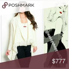 Chic Cream knitted cardigan Brand new Price will be $49  Chic Cream open front cardigan with fringed details. Perfect for the season!!  Sizes available Size S/M or L/XL Material 100%acrylic Sweaters Cardigans