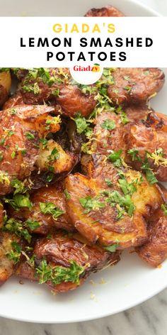 Giada Recipes, Wine Recipes, Paleo Recipes, Cooking Recipes, Smashed Potatoes Recipe, Crispy Potatoes, Dill Potatoes, Good Food, Yummy Food