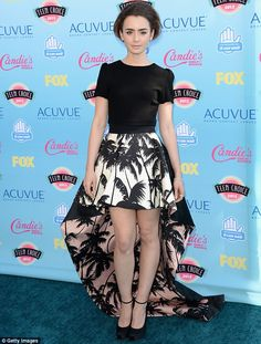 Monochrome dream: Lily Collins impressed at the Teen Choice Awards on Sunday evening in Los Angeles