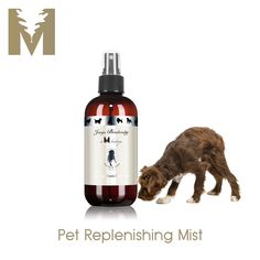 REPLENISHING MIST $22 Keep fur friend fabulous in between baths with Jorge at M Boutique Pet Replenishing Mist.  In mere moments, our beautiful blend of all natural ingredients restores moisture and added shine while luxurious essential oils of neroli and wild mint work to soothe and relax your dog.  Revitalizing and refreshing.  Contains no harsh chemicals.  Alcohol and sulfate free.  Perfect pampering revealed.