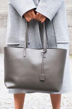 CITY BAG #SaintLaurent #Bag #grey #coat #womenswear #botd #look