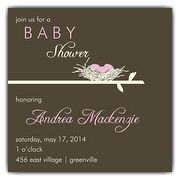 Birds Nest Mod Girl Baby Shower Invitations | PaperStyle