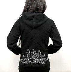 Black Zip up unisex crystal hoodie