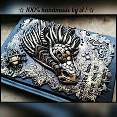 Dragon polymer clay journal Notebook Cover handmade Book of shadows BOS