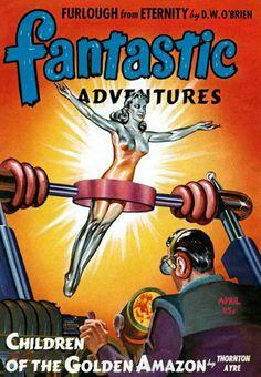 Fantastic Adventures Magazine - Children of the Golden Amazon Pulp Fiction Cover