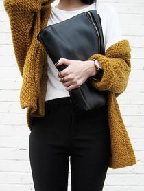 oversized clutch + slouchy sweater