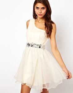 Lipsy VIP Organza One Shoulder Dress With Jewel Waistband ($157.94) #Asos -Love the embellishment!