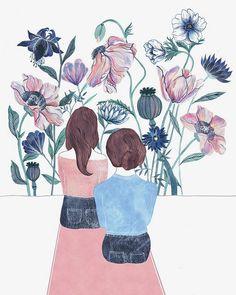 #illustration #illustrator #nataliabzdak #wip #ilustracja #rysunek #ilustración #workinprogress #sister #editorial #floral #magazine #portfolio #flowers #painting #augsburg #illustrationart #brush #acrylic #hidden #love #lovemyjob