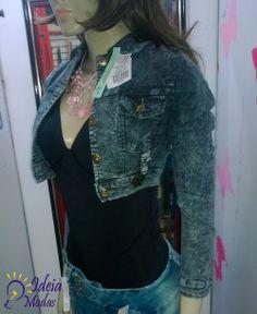 jaquetinha jeans cinza