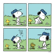 Snoopy and Woodstock play golf.