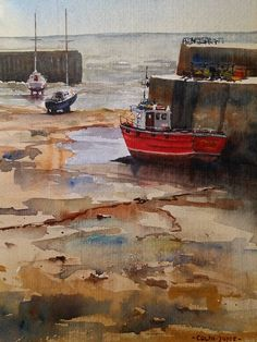 Dysart harbour in Fife, Scotland painted plein air in watercolour.