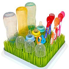Kuddly Kids Large Lawn Drying Rack Baby Bottle Dish Rack Excellent Drying Grass For Large Baby Bottles. Perfect Drying Rack For Baby Bottles, Baby Dishes, Sippy Cups Baby Bottle Nipples Grass Rack