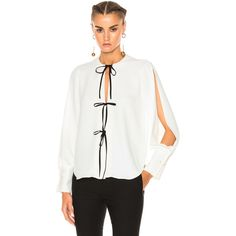 Rachel Comey Meryl Top ($370) ❤ liked on Polyvore featuring tops, blouses, rachel comey, white tie front blouse, rachel comey blouse, white tie front top and white top
