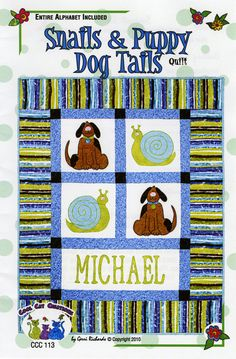 Snails & Puppy Dog Tails By Richards, Gerri - 37in x 47in. Includes full alphabet so you can personalize it with baby boy's name.