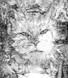 Beautiful Dark Art, Anime Pixel Art, Hidden Images, Mythical Creatures Art, Black And White Aesthetic, Silver Cat, Illusion Art, Oil Painting Abstract, Fantastic Art