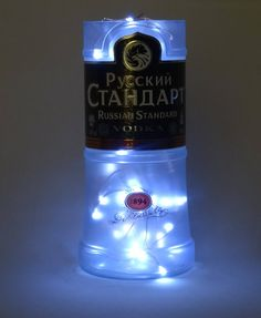 Russian Vodka Bottle Frosted Glass Vase use as a lamp with